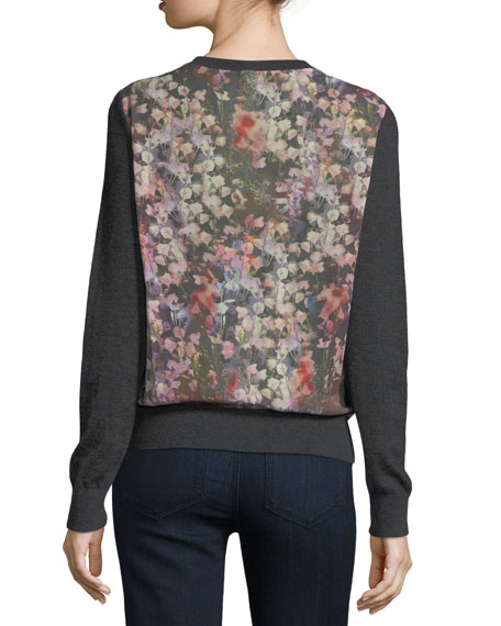 Romantic Floral Chiffon-Back Cashmere Bomber Cardigan