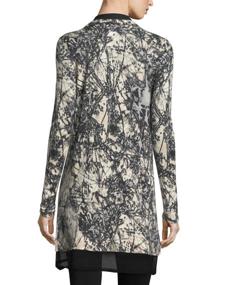 Burst-Print Open Cashmere Cardigan w/ Sheer Trim