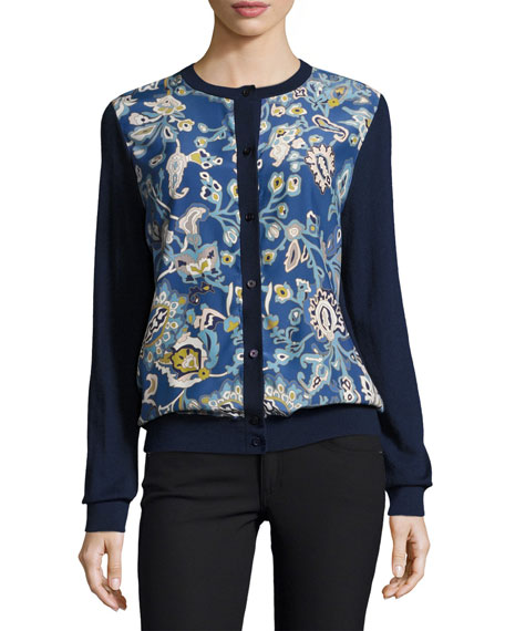Neiman Marcus Cashmere Collection Garden-Print Silk/Cashmere