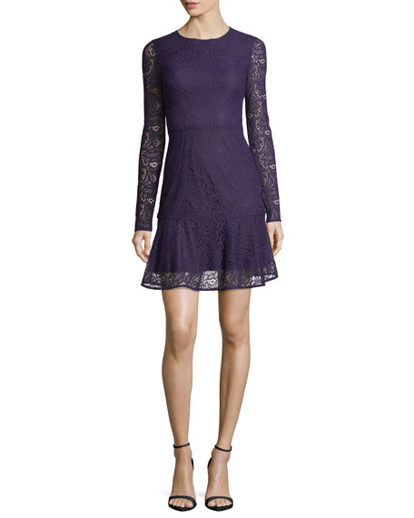 MICHAEL Michael Kors Long-Sleeve Arabesque Floral Lace Dress