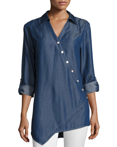 Denim Asymmetric Button-Detail Shirt
