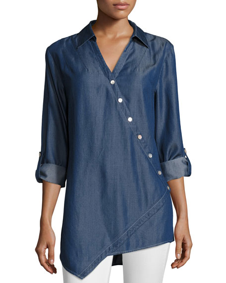 Go Silk Long-Sleeve Denim Asymmetric Button Shirt, Plus