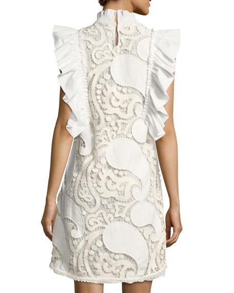 Smocked-Collar Sleeveless Ruffled Lace Mini Dress, White