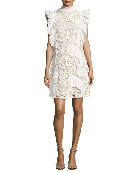 See by Chloe Smocked-Collar Sleeveless Ruffled Lace Mini