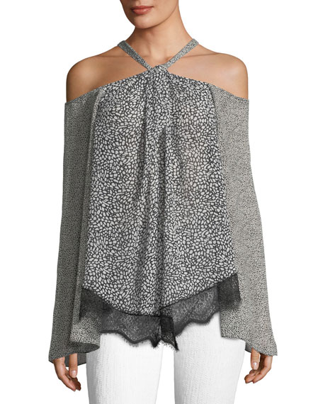 Derek Lam 10 Crosby Cold-Shoulder Halter Blouse W/Lace,