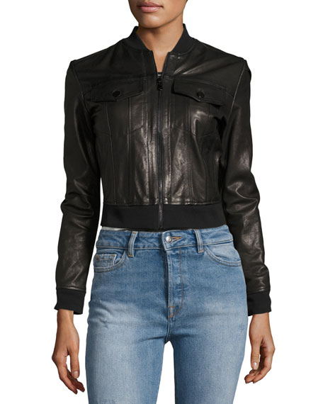 Harlow Zip-Front Leather Jacket, Black