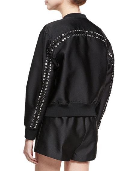 Satin Bomber Jacket W/ Lacing Detail, Black