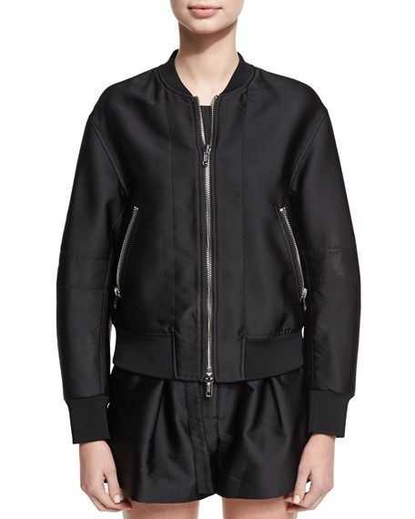 3.1 Phillip Lim Satin Bomber Jacket W/ Lacing