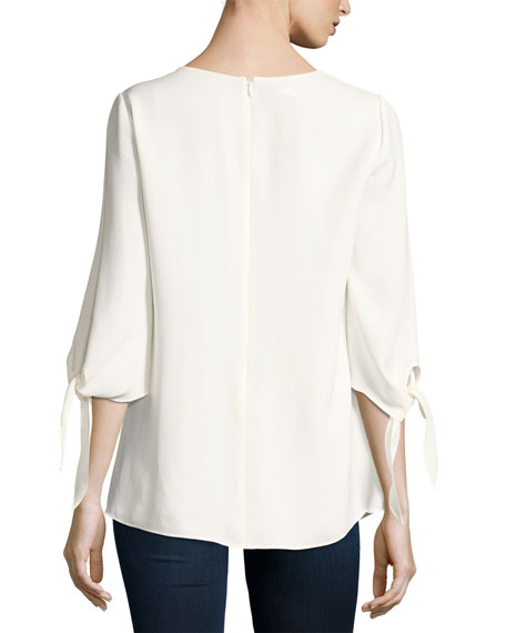 Kenna Tie-Sleeve V-Neck Silk Blouse