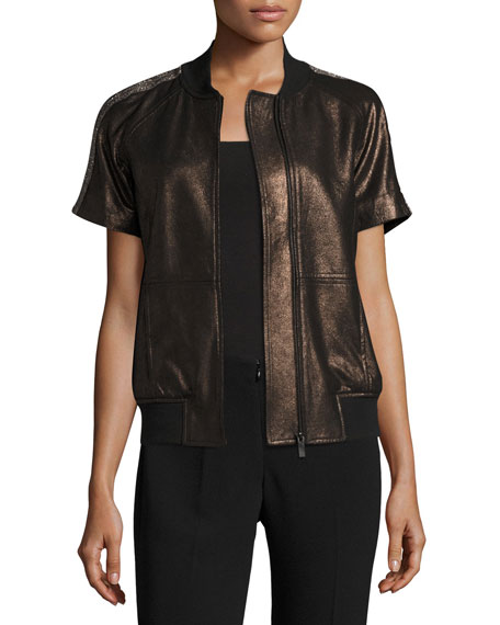 Neiman Marcus Leather Collection Short-Sleeve Chain-Trimmed