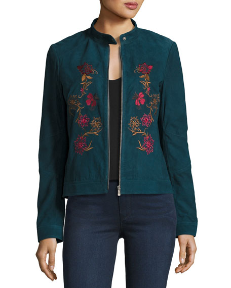 Neiman Marcus Leather Collection Floral-Embroidered Suede Moto