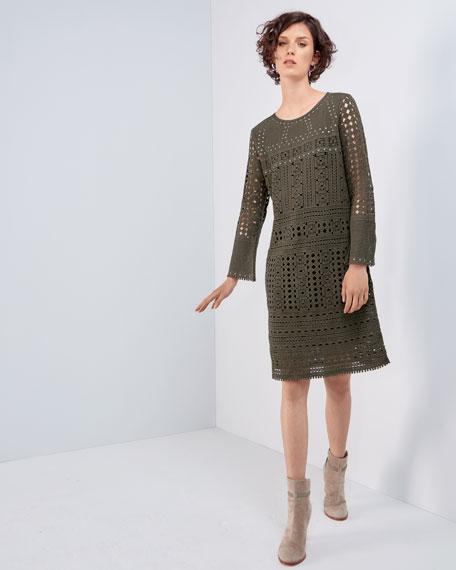 Long-Sleeve Lacy Knit Sheath Dress