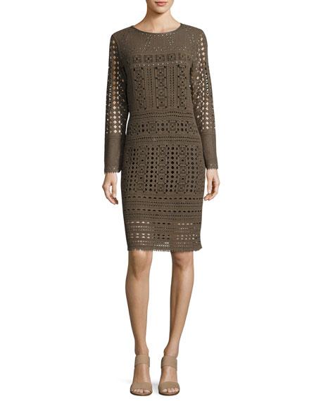 NIC+ZOE Long-Sleeve Lacy Knit Sheath Dress, Plus Size
