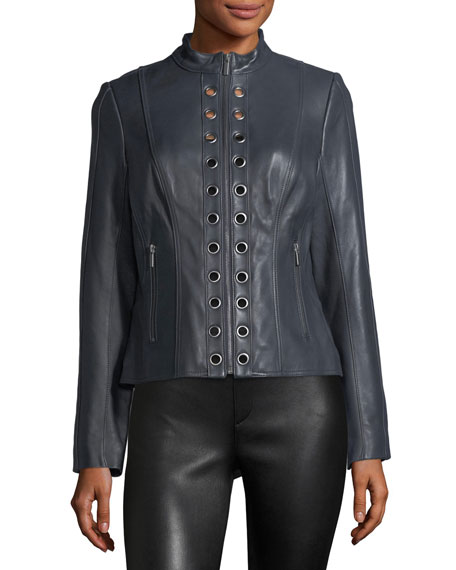 Grommet-Trim Leather Moto Jacket