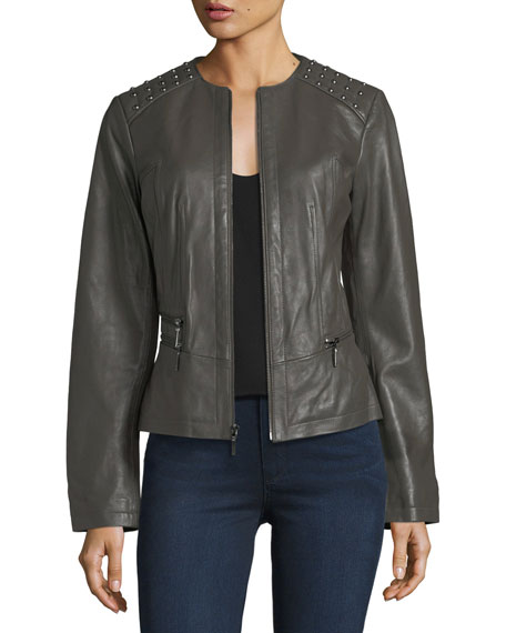 Neiman Marcus Leather Collection Studded-Shoulder Leather Moto