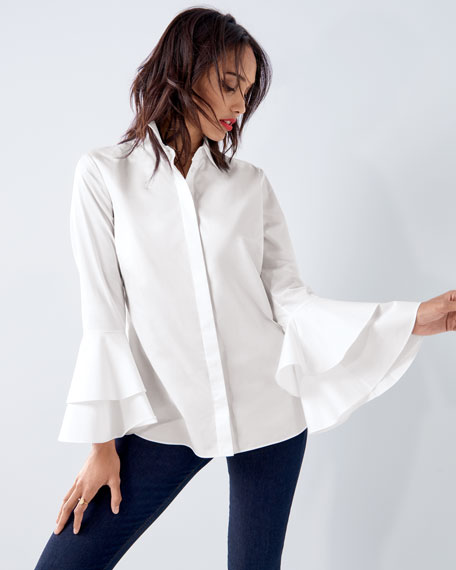 Ruffle-Sleeve Cotton Shirt, Petite