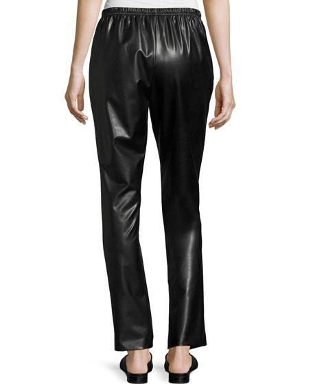Bi-Stretch Faux-Leather Pants, Black, Plus Size