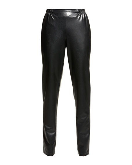 Bi-Stretch Faux-Leather Pants, Black