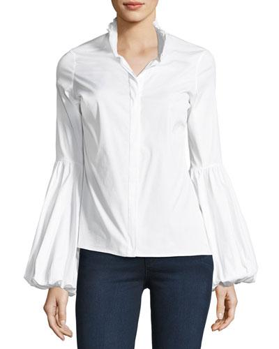 Jacqueline Button-Front Poplin Shirt, White