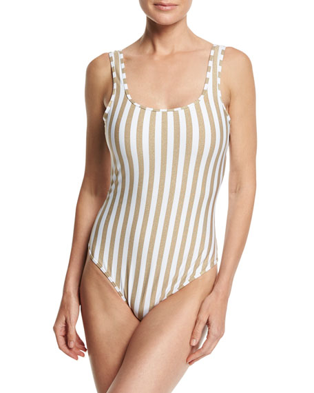 Striped Classic One-Piece Swimsuit, White Multi