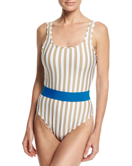 Diane von Furstenberg Striped Classic One-Piece Swimsuit, White