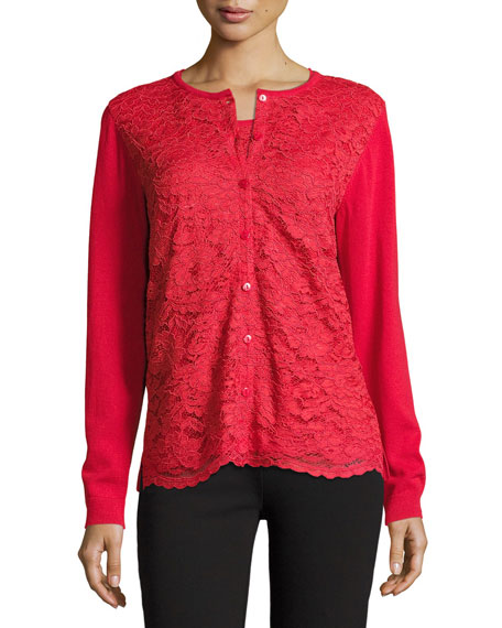 Plus Size Lace-Inset Button-Front Long-Sleeve Cardigan