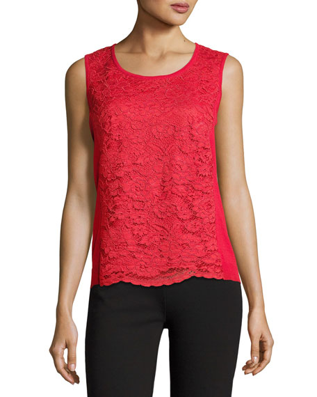 Joan Vass Plus Size Lace-Inset Sleeveless Shell