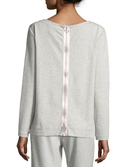 Joan Vass Petite Luxe Cotton Interlock Sequin-Front Top