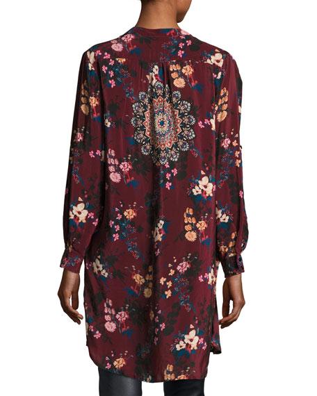 Skyler Split-Neck Floral-Print Silk Tunic