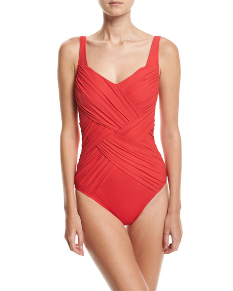 Lattice Shaped Square-Neck One-Piece Swimsuit, Red