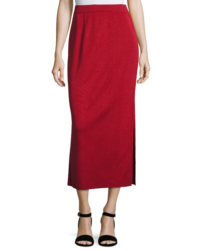 Petite Long Straight Knit Skirt  Vintage Rose