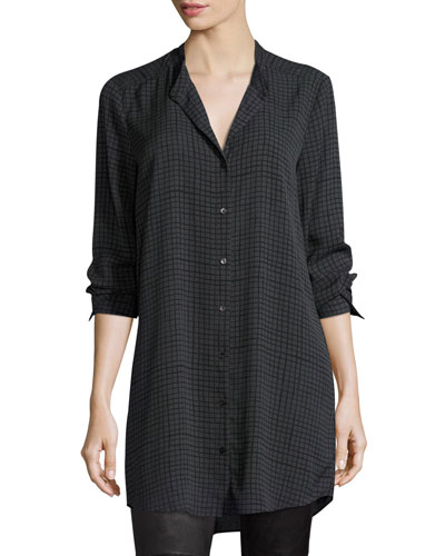 Grid-Printed Silk Crepe Mandarin Long Button-Front Shirt