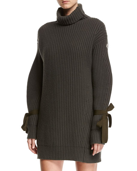 Turtleneck Ribbed Ribbon Sweater Dress