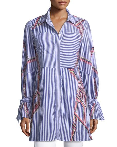 Tanya Taylor Designs Charlee Striped Embroidered Menswear Shirt