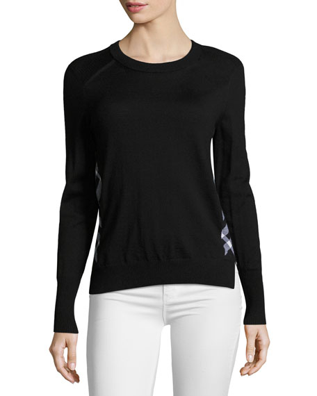 Burberry Meigan Long-Sleeve Crewneck Check-Side Sweater, Black