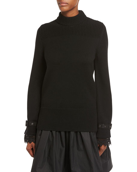 Moncler Maglia Lace-Cuff Knit Pullover Sweater
