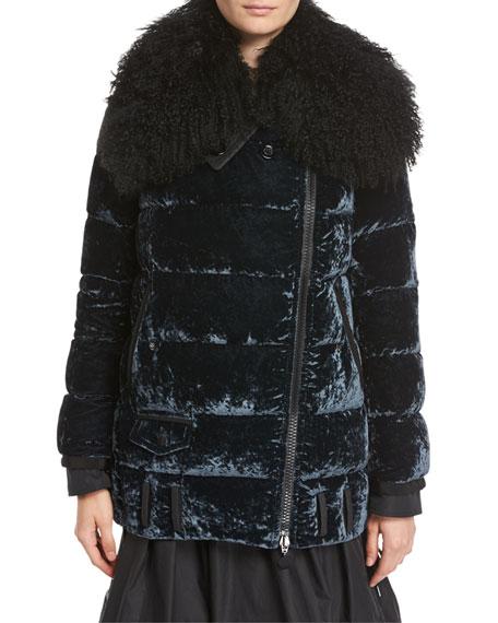 Isabelle Velvet Puffer Coat w/ Shearling Collar