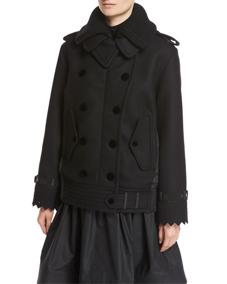 Moncler Clarissa Double-Breasted Mixed-Media Coat, Black