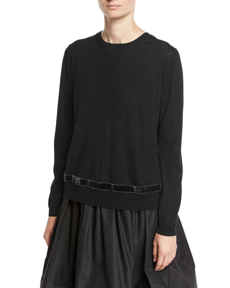 Pleated Back Knit Sweater, Black