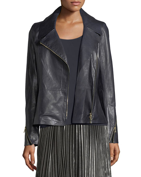 Lafayette 148 New York Kimbry Leather Moto Jacket