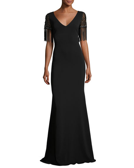 Badgley Mischka Beaded Fringe Sleeve V Neck Crepe Evening