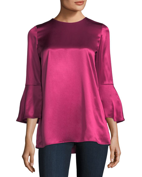 Lafayette 148 New York Sidra Bell-Sleeve Luxe Charmeuse