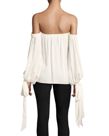 Alba Off-the-Shoulder Stretch-Silk Top