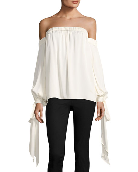 Milly Alba Off-the-Shoulder Stretch-Silk Top and Matching Items