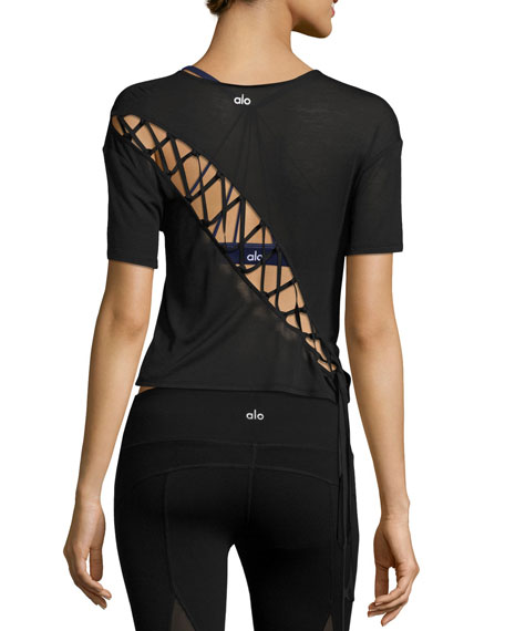 Alo Yoga Entwine Short-Sleeve Lace-Back Athletic Top, Black