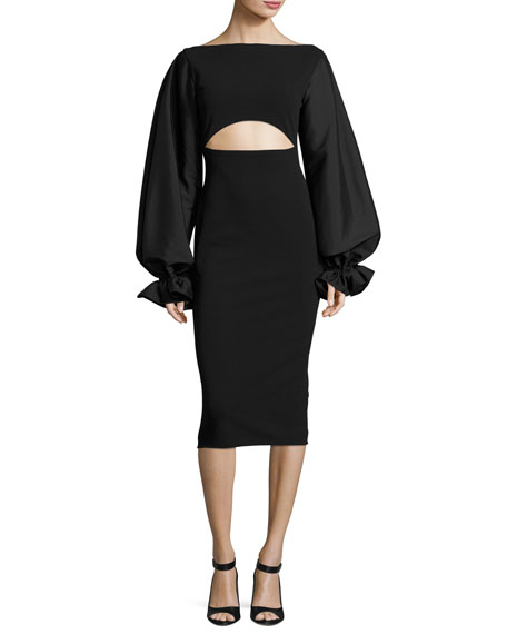 Solace London Darcy Cutout Blouson-Sleeve Sheath Dress, Black
