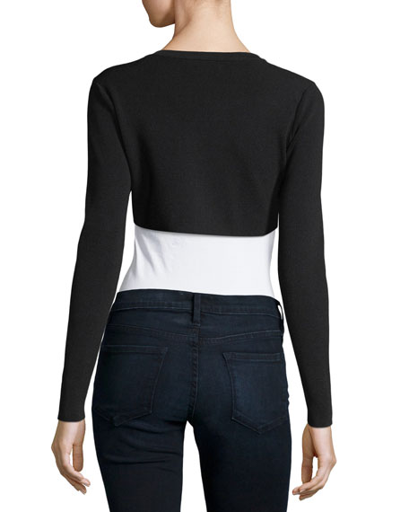 Cropped Button-Front Cardigan
