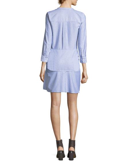 Stella Tie-Front Striped Poplin Shirtdress