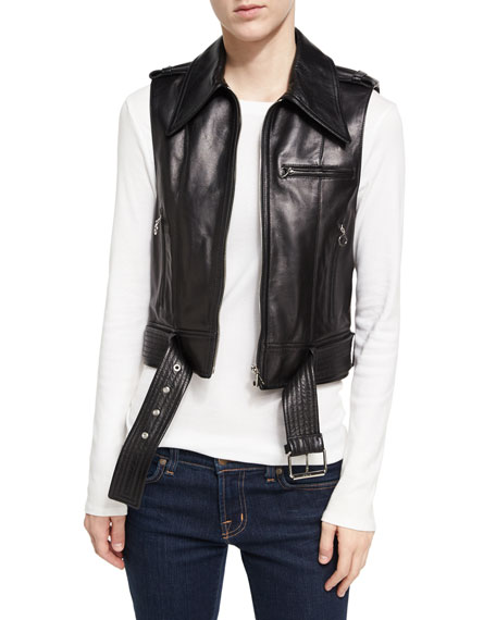 Leather Zip-Front Motorcycle Vest, Black