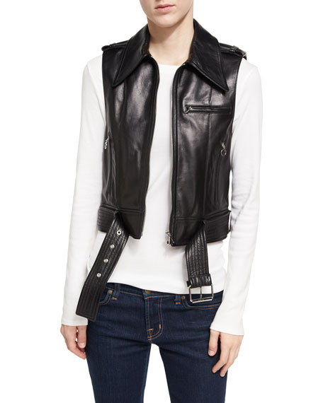 Alexa Chung Leather Zip-Front Motorcycle Vest, Black